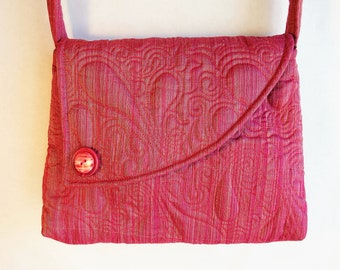 Fabric Purse handmade Pink Shoulder Bag made with recycled materials by Cant Have Enough