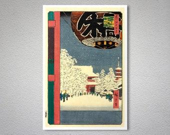 Utagawa Hiroshige Japanese Art Blank Greeting Card Kinryuzan Temple Asakusa in The Snow