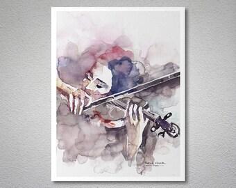 Violin Prelude Watercolor Painting By Faruk Koksal