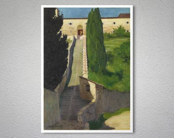 The Steps of the Convent of San Marco, Perugia, 1913 by Felix Vallotton - Poster Paper, Sticker or Canvas Print / Gift Idea