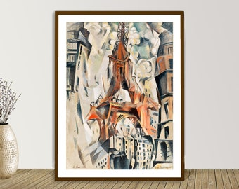 Eiffel Tower ( Tour Eiffel ) by Robert Delaunay, Fine Art Print, Divisionist Artwork, Cubist Painting, Orphist Wall Art, Abstract Wall Décor