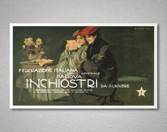 Federazione Italiana Padova Inchiostri da Scrivere Vintage Poster - Poster Paper, Sticker or Canvas Print / Gift Idea