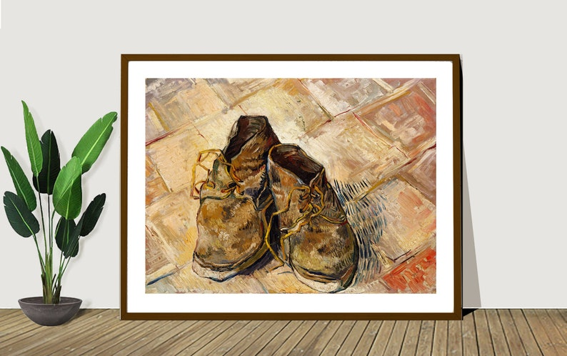Sticker or Canvas Print  Gift Idea  Wall Decor Shoes by Vincent Van Gogh  Fine Art Print Poster Paper