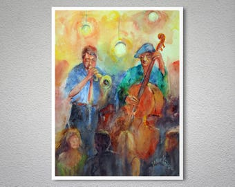 At the Jazz Club Watercolor Painting by Faruk Koksal - Poster Paper, Sticker or Canvas Print / Gift Idea
