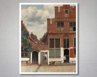 Street in Delft  by Johannes Vermeer - Poster Paper, Sticker or Canvas Print / Gift Idea