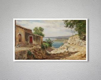Fra Taormina by Carl Frederic Aaagard Fine Art Print  - Poster Paper, Sticker or Canvas Print / Gift Idea