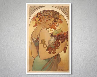 Fruits by Alphonse Mucha - Poster Paper, Sticker or Canvas Print / Gift Idea