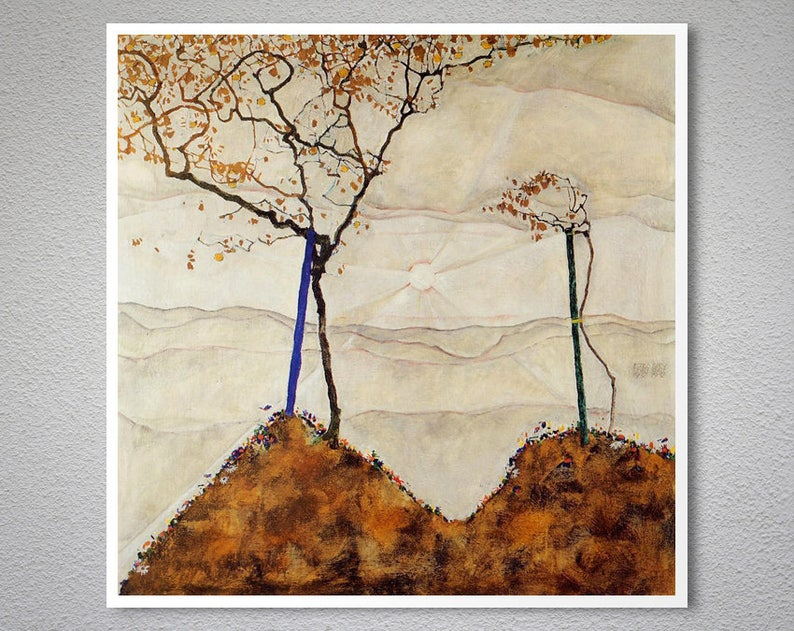 Autumn sun and trees by Egon Schiele Giclee Fine Artツ�Print Repro on Canvas
