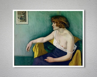 Young Woman Seated in Profile, 1914 by Felix Vallotton Fine Art Print -  Poster Paper, Sticker or Canvas Print