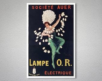 Lampe O.R. Electrique Vintage Poster by Leonetto Cappiello - Poster Paper, Sticker or Canvas Print / Gift Idea