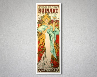 Champagne Ruinart by Alphonse Mucha - Art Print - Poster Paper, Sticker or Canvas Print / Gift Idea