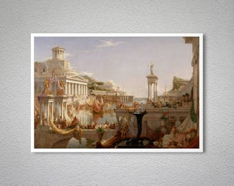 The Course of Empire  Consummation by Thomas Cole -  Poster Paper, Sticker or Canvas Print / Gift Idea