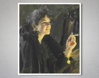 The Cigarette Girl by Anders Zorn Painting - Poster Paper, Sticker or Canvas Print / Gift Idea