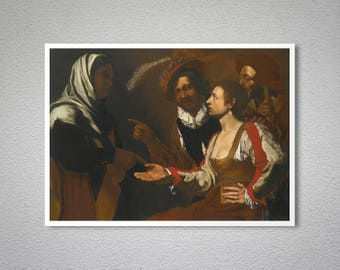 The Fortune Teller by Michelangelo Merisi da Caravaggio - Poster Paper, Sticker or Canvas Print / Gift Idea