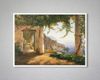 View of the Amalfi Coast by Carl Frederic Aagard Fine Art Print - Poster Paper, Sticker or Canvas Print / Gift Idea