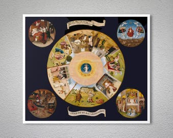 The Seven Deadly Sins and the Four Last Things by Hieronymous Bosch - Poster Paper, Sticker or Canvas Print / Gift Idea