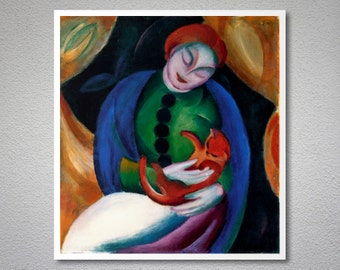 Girl with Cat by Franz Marc - Poster Paper, Sticker or Canvas Print / Gift Idea