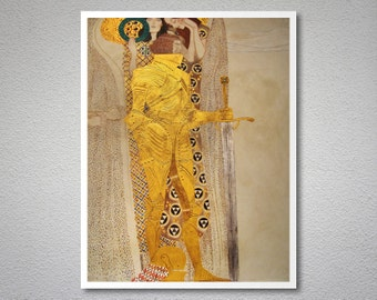 The Knight Detail of the Beethoven Frieze by Gustav Klimt - Poster Paper, Sticker or Canvas Print / Gift Idea