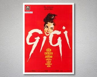 Gigi, Leslie Caron, Maurice Chevalier Vintage Movie Poster - Poster Paper, Sticker or Canvas Print / Gift Idea