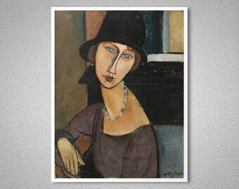 Jeanne Hebuterne (Au Chapeau)  by Amedeo Modigliani - Poster Paper, Sticker or Canvas Print / Gift Idea
