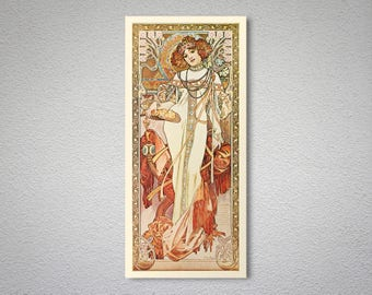 l'Automne by Alphonse Mucha - Art Print - Poster Paper, Sticker or Canvas Print / Gift Idea