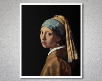 Girl with a Pearl Earring by Johannes Vermeer, 1665 - Poster Paper, Sticker or Canvas Print / Gift Idea