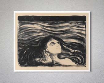 On the Waves of Love by Edvard Munch Fine Art Print - Poster Paper, Sticker or Canvas Print / Gift Idea