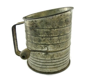 Bromwells Flour Sifter 5 Cup Shabby Country Farmhouse