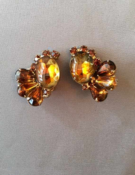 Large Vintage Gold Topaz Earrings, November births