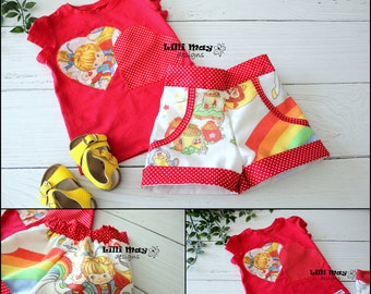 Rainbow Brite fabric Cuff Shorts and T-Shirt Set