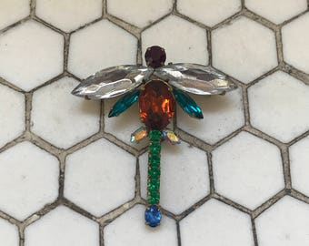 Colorful Glass Dragonfly Vintage Brooch