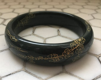 Asian Carved Gold Cherry Blossoms Black Jade Bangle