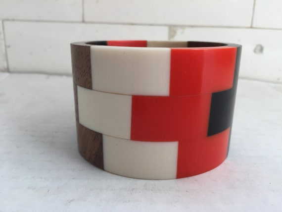 Mid Century Bakelite & Wood Stacked Bracelet