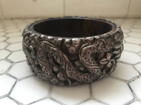 Bone & Silver Dragon Snake Dragon Bangle Bracelet