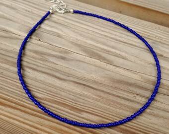 tour de cou bleu cobalt rocaille perle collier lapis usure sur la plage bleu électrique
