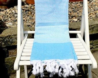 Serviette de plage, hammam turc, Peshtemal, piscine couverture, serviette de bain coton en bleu