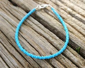 bracelet turquoise boho plage surf vacances vacances rocaille perle bijoux