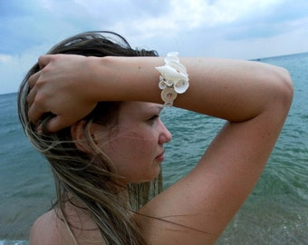 Mermaid bracelet, Beach wedding bracelet, destination wedding, seashell  bracelet, beach bride