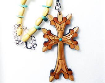 Armenian cross, rear view mirror charm wooden cross, christian cross, natural turquoise car accessories, car ornament, Evil eye Mothers day