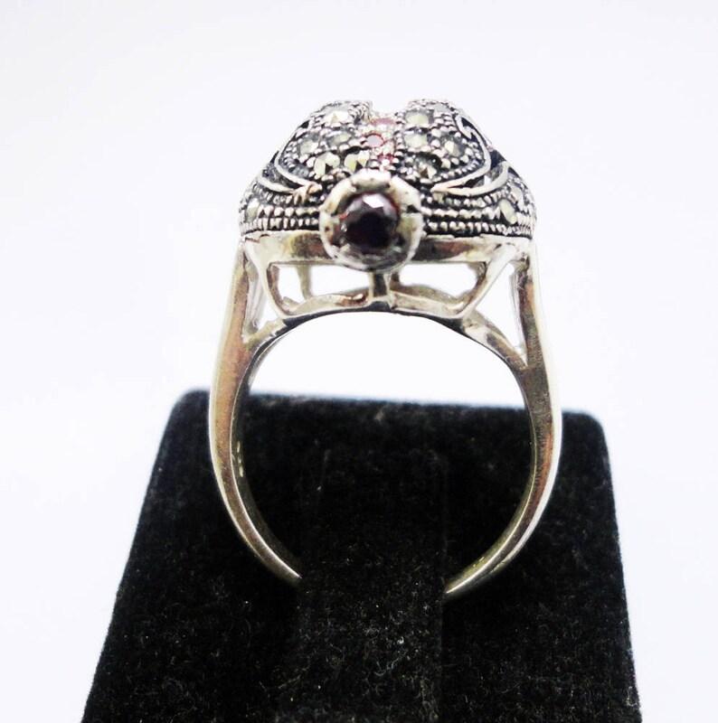 boho ring hand made silver ring Pomegranate ring statement gift women garnet stones filigree rings Armenian art garnet ring