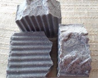 Charcoal Pumice Salt Bars, Bath Soap, Gardner's Soap, Exfoliating Soap, Moisturizing Soap, Handmade Soap, Unscented Soap