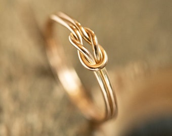 Love knot ring, Celtic knot, Bridesmaids gift, Friendship ring, Sterling silver or solid gold, Handmade