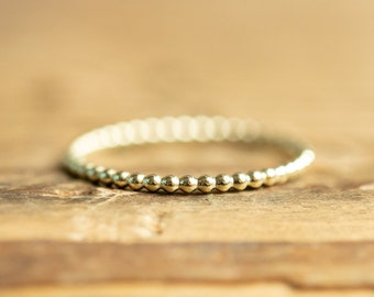 14kt SOLID gold Beated Ring, Sterling silver, beats ring, gift for girlfriend, single ring, stacking ring, gift under 10