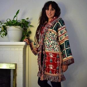 Afghan Coat Upcycled Blanket Coat Vintage Inspired Coat Inverted Christmas coat Blancoat