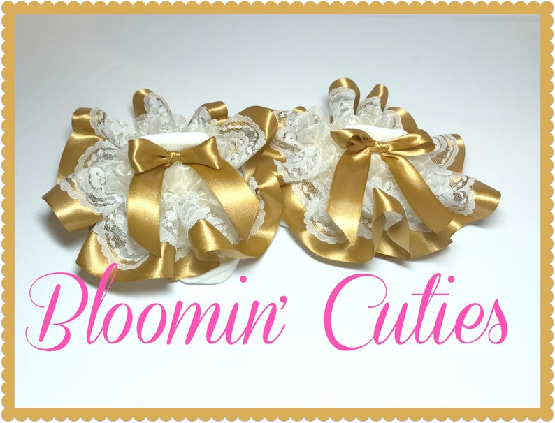 and Gold Satin Ribbon Newborn Infant Toddler and Girls SUPER RUFFLE SOCKS by Bloomin Cuties Boutique Ivory Cream Lace Organza