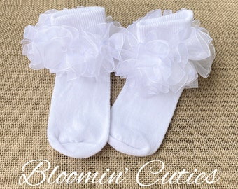 Little Miss Lillie White Organza Newborn Infant Toddlers and Girls SUPER RUFFLE SOCKS by Bloomin Cuties Boutique