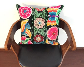 Embroidered cushion pillow cover made from recycled vintage Peruvian fabric upcycled KQ1