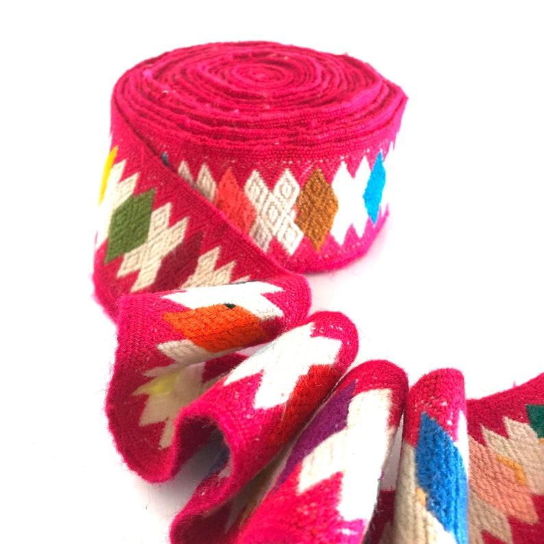 Handwoven handmade vintage ethnic Andean Peruvian tribal boho woven trim  upholstery loom Cuzco MX51