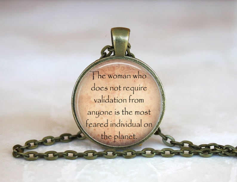 Inspirational Quote Glass Pendant Bronze Handmade Art Necklace Gift Present If not Now When