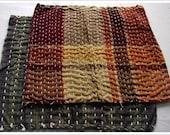 Old Japanese Handmade Cotton Sashiko Zokins Dust Cloths, Set of 2.....E-Zokin-903